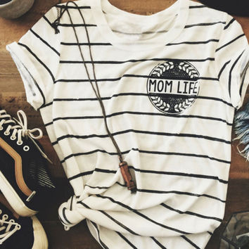 Women Summer Plus Size Striped Mom Life Letter Print Crewneck T Shirt Chic O Neck Tee Casual Brand T-Shirt Top S/M/L/XL/XXL