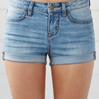 Bullhead Denim Co. Carmel Blue Mid Rise Super Stretch Denim Shorts at PacSun.com