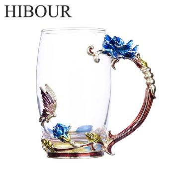 HIBOUR  Blue Rose Enamel Glass Coffee Cup Mug with Creative Novelty Tea Glass Cups with Handgrip Drinks Perfect Gifts For Lover