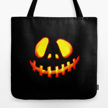 Trick or Treat Bag, Halloween Tote Bag, Jack O' Lantern, Happy Jack O' Lantern, Happy Halloween, Halloween Tote Bag, Black & Orange, Autumn