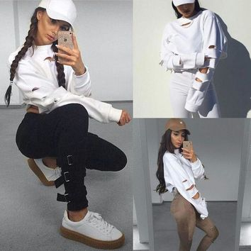 New Women Lady Clothes Tops Long Sleeve Crop Pullover Hooded Sweatshirt Tops Cropped Hoodie Clothing Women