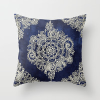 Cream Floral Moroccan Pattern on Deep Indigo Ink Throw Pillow by Micklyn
