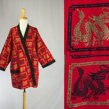 Vintage Dragon Robe Chinese Smoking Jacket Red, Black and Gold