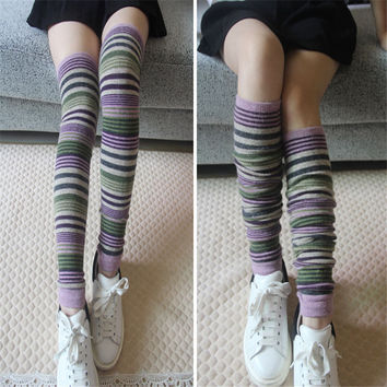 2016 New Thigh High Socks Winter Women Stockings High Quality Over The Knee High Socks Stripped Wool Long Socks