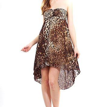 Leopard Chiffon Strapless High Low Womens Sheer Dress
