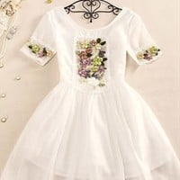 Back V handmade Three-dimensional embroidery flower dress from Fanewant