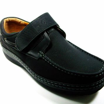 Mens Rocus Velcore Closure Slip On Moccasin Loafers Shoes C-215 Black