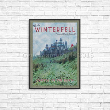 Winterfell Travel Poster | GOT poster |  Vintage look print | Vintage travel | Fantasy travel poster