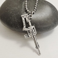 Sniper Rifle Necklace in Tibetan Silver - Hypoallergenic Chain