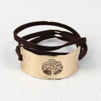 Tree Emblem Hammered Cuff Wrap Bracelet