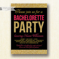 Pink & Gold Glitter Bachelorette Party Invitation Modern Fuchsia Hot Pink Bridal Wedding Hens Party Lingerie DIY Printable or Printed- Naomi