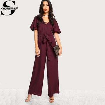Sheinside Sexy Choker Neck Self Tie Bow Belt Palazzo Jumpsuit 2017 Ladies Burgundy V neck Short Sleeve Elegant Jumpsuit
