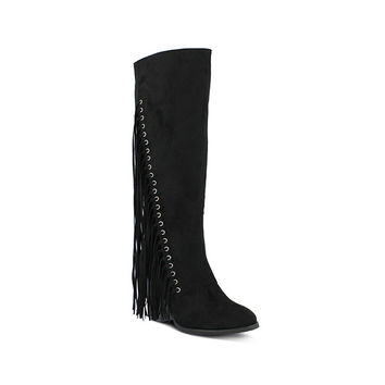 Style Name: IANKA-Tall Micro Suede Fringe Boot - 2 Colors