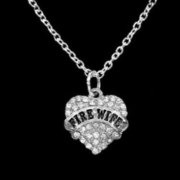 Crystal Fire Wife Heart Firefighter Fireman Wife Gift Charm Necklace
