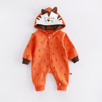 Baby clothes autumn/winter Korean version fox Hoodie print Front zipper Baby climbing clothes cotton Internal short plush Romper