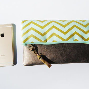 CHEVRON FOLDOVER CLUTCH, green chevron bag, everyday casual clutch, gold leather clutch, fold over clutch, iPad sleeve, kindle case