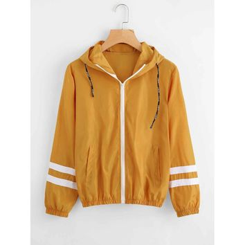 Yellow Hooded Striped Varsity Jacket