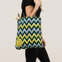 Yellow Grey Chevron pattern monogram personalized Tote Bag