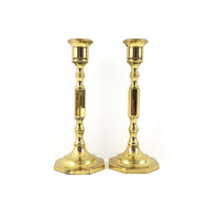 Pair of Brass Hollywood Regency Candlesticks / Vintage Gold Taper Candle Holders / Home Decor / Set of 2 / Sculptural Accents