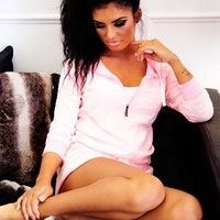 Macey Coral & White Hooded Lounge Playsuit   Pink Boutique