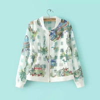 Floral Print Zippered Jacket