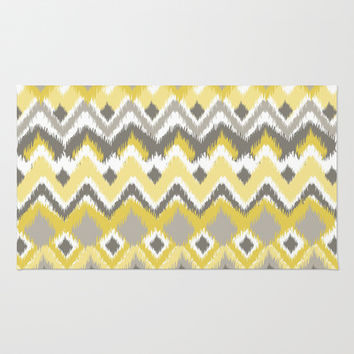 Aztec Tribal Yellow Gray iKat Inspired Pattern Design Area & Throw Rug by TRM Design