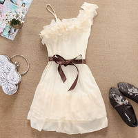 Fashion One Shoulder Women Sweet Pleated Cocktail Party Cute Chiffon Mini Dress