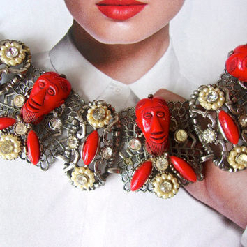 Signed SELRO Red African Face Filigree Bracelet, Thermoset & Rhinestones, Vintage