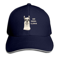 Pro-Style Cool No Problem-LLAMA Sandwich Peak Hats Adults Cap Navy
