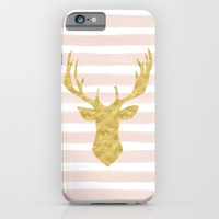 Pink Watercolor Stripes and Gold Deer iPhone & iPod Case by Heartlocked