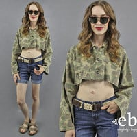 Camo Crop Top Cropped Military Shirt Cropped Camo Top Camo Shirt Camouflage Shirt Army Green Shirt Army Shirt Army Green Top 90s Shirt L XL