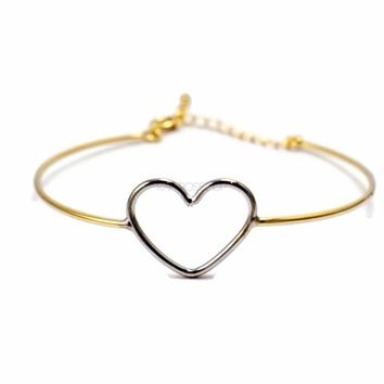 Silver Heart Cuff Bracelet Gold Plated