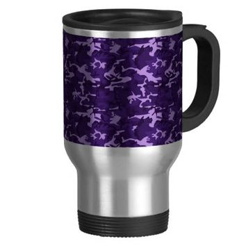 Purple Camouflage Travel Coffee Mug