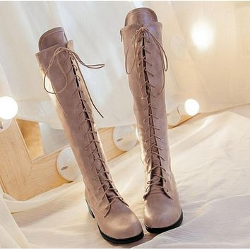 Lace Up Type Round Toe Fashion Over the Knee High Martin Women Boots Thigh High Knight Bootie Shoes-1