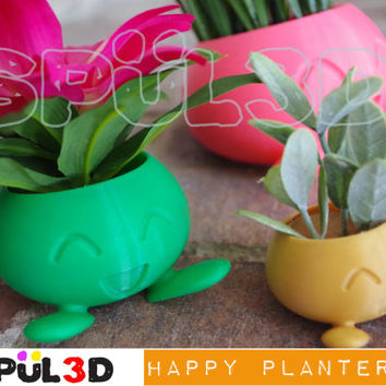 Happy Oddish Pokemon Planter 3D Printed
