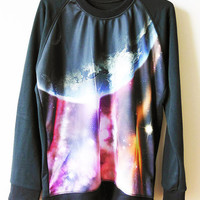 SIZE M - Galaxy Shirts Purple Pink Violet Nebula Space Black Tee Shirt Women Tee Unisex T-Shirts Sweatshirt Long Sleeve Tee Women T-Shirts