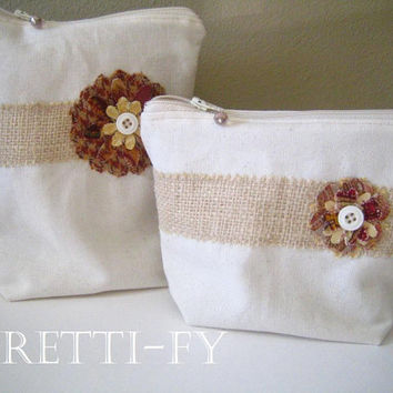 Cosmetic Bag Set, French Shabby Bag, Small Bag Set, Canvas Burlap Bags, Country Style Bags, Light Color Bag, Matching Bags, Cream Color