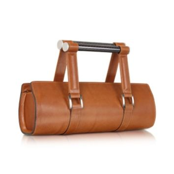 Aznom Designer Handbags Carbon Lady Vintage - Brown Leather Baguette Bag with Ergonomic Handles