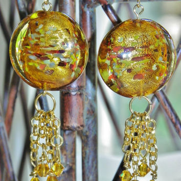 Amber Venetian Glass/ Swarovski Crystal Lt Topaz on Gold-Plated Ear wire