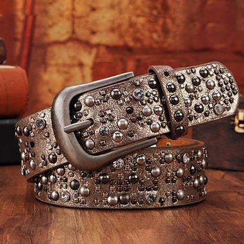 Luxury Rivet Punk Rock Belt Skull Buckle Cowskin Genuine Leather Handcrafted Cintos Masculinos Women Female Hip Hop Strap Waist