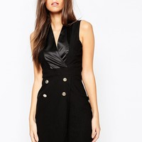Vesper Plunge Neck Satin Tuxedo Dress With Button Detail