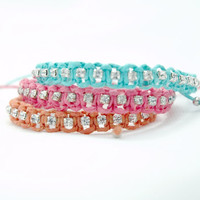 Mint Green Coral Pink Orange Colorful Crystal Strass Macrame Braided Friendship Bracelet