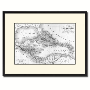 West Indies Caribbean Vintage B&W Map Canvas Print, Picture Frame Home Decor Wall Art Gift Ideas