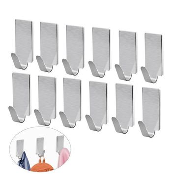 12pcs Stainless Steel Adhesive Door Hook  kitchen Hooks Wall Hanger Towel Hooks Wall Hooks for Kitchen Bathroom