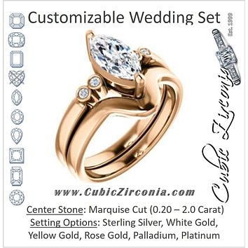CZ Wedding Set, featuring The Luzella engagement ring (Customizable 5-stone Design with Marquise Cut Center and Round Bezel Accents)