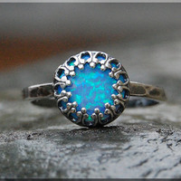 Blue Opal Ring, Crown Bezel Set Opal Ring, Sterling Silver gemstone Ring, Opal Cocktail Ring, Stacking Ring, Blue Flash Opal Promise Ring