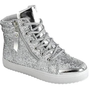 Girls High Top Glitter Sneaker, Silver
