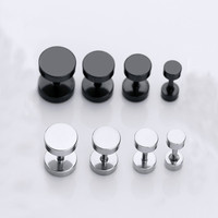 Round Circle Titanium Dumbbell Stud Earrings
