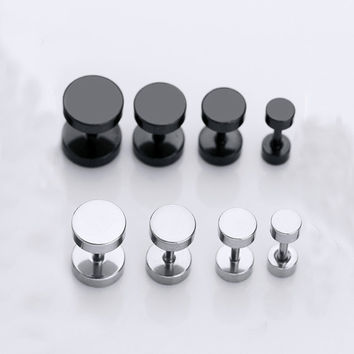 1 Pair Round Circle Titanium Stud Earrings Punk Barbell Dumbbell Double Sided Piercing Earrings for woman andmen ship