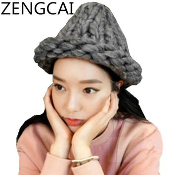 Handmade Knitted Beanie Hats For Women Winter Coarse Lines Crochet Warm Hat Fashion Female Skullies Beanie Caps Girls Wool Cap